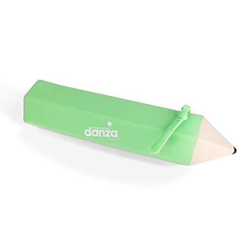 DIMENSIONE DANZA Sisters - Estuche monocromo de silicona con forma de lápiz, estuche para bolígrafos con cierre de cremallera, tamaño 22 x 5,5 x 5,5 cm (verde)