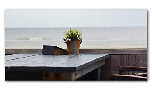 Glücksvilla Beach Bar 7 Artistes XXL Tableau Mural Tailles et matériaux. Table de Jardin avec Fleurs et Arbre de l'océan - Grand Art, Toile 2 cm, Grün Braun Blau Beige, 80 x 40 cm