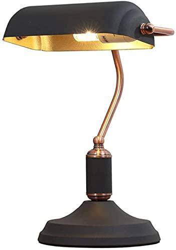 Mesa Lámpara de mesa Escritorio de cristal Manchado Luz Lámpara Sala Comedor Dormitorio Decoración de la cabecera Iluminación [Clase de eficiencia energética A++] -Negro