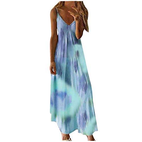 Qigxihkh Mode DamenSexy Plus Size Tie-Dye Print Ärmelloses V-Neck Camisole Langes Kleid