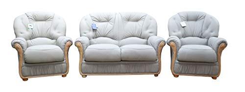 Luxury Handmade Debora 2+1+1 Genuine Italian Light Grey Real Leather Sofa Suite