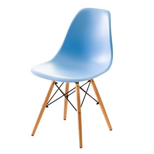 【不朽の名作 イームズチェアー】人気の木脚(DSW)ダイニングチェアー チャールズ・レイ・イームズ作品 リプロダクト 世界で有名なデザイナーズ椅子 (ブルー色) ブルー 木脚DSW(滑らか座面)