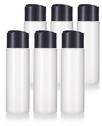 8 oz / 250 ml Professional Natural Clear Refillable Plastic Squeeze (BPA Free) Bottle with Wide Black Disc Cap Lid (6 Pack)