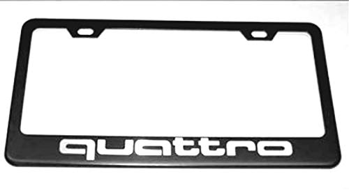 Vestian Quattro Black Car License Plate Frame Cover Holder with Caps Screws Rust Free Stainless Steel (1)