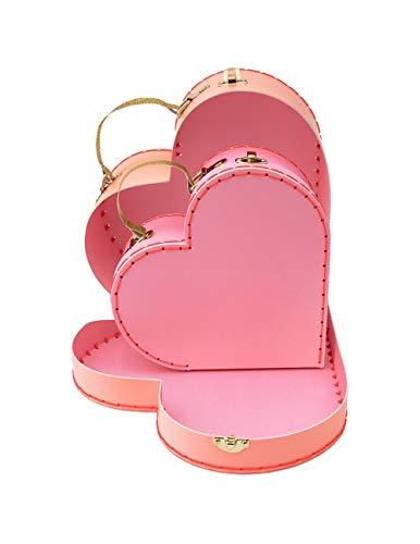 Meri Meri - Juego de 2 maletas de cartón, diseño de corazón