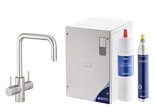 BRITA Wassersprudler yource pro Select Elektronisch mit CO2 Zylinder - Mit Filter und Kühlung für Lieblingswasser direkt aus der Leitung (Eckig, Edelstahloptik)