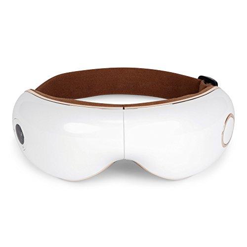 SKANDAS® Masajeador facial y de ojos (modelo 2021) - Máscara ocular y de cabeza/Gafas de masaje electricas plegables con vibromasaje, presoterapia, calor y música – Garantía 2 Años