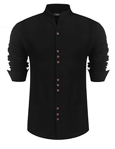 COOFANDY Black Dress Shirt for Men Button Down Dress Shirt Regular Fit