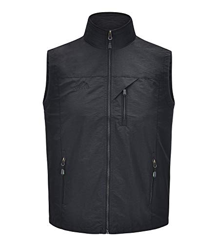 Spanye Mens Athletic Vest Casual Outdoor Lightweight Jacket for Work Safari Travel Loose Fit Big and Tall (Black, X-Large Big)