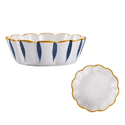 1yess Ensalada de Fruta de cerámica Bowl, hogar Vajilla Soup Bowl, de Cereales, Ensalada, Pasta, Crema de Hielo (Color: D, Tamaño: 4PCS) (Color : A, Size : 6PCS)