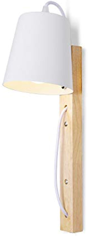 Modenny Nordic Massivholz Nachttisch Wandleuchte mit Schalter Modern Home Beleuchtung E27 Eisen Kunst Holzlaterne LED mit Stecker Wohnzimmer Hotel Restaurant Kind Schlafzimmer Wandleuchte Lampe