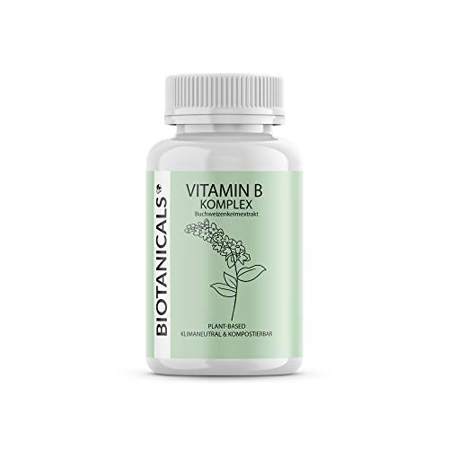Vitamin B Komplex (90 Kapseln) - Pflanzliches Vitamin B Complex aus Buchweizenkeimextrakt. Hochdosiert: Bio-aktive Vitamin B-Form. (Mit Biotin und B12) vegan