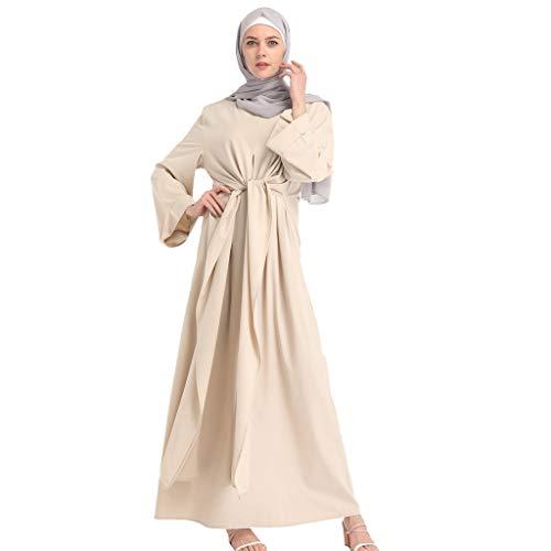 WUDUBE Mode Frauen muslimische Roben, Mode Frauen transparente Farbe gefälschte zweiteilige langärmelige Kleid