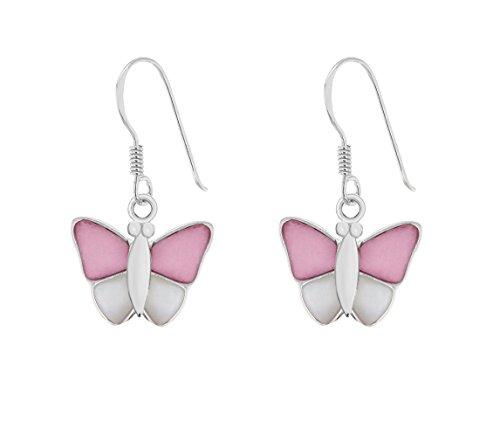 Tuscany Silver Ohrhänger Sterling Silber Schmetterling Rosa und Weiß Perlmutt
