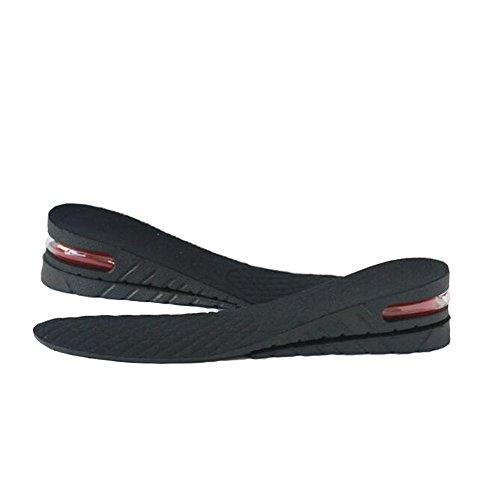 Plantilla unisex de 2 capas 1.96' aumento de la plantilla, plantilla de levantamiento de calzado con amortiguación de colchón de aire (negro 2)