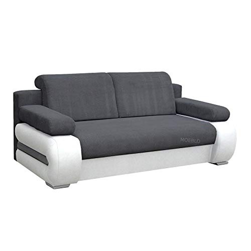 mb-moebel Couch mit Schlaffunktion Sofa Schlafsofa Wohnzimmercouch Bettsofa Ausziehbar - York (Dunkelgrau + Weiß)
