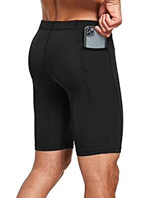 BALEAF Men's Compression Running Shorts Pocketed Yoga Hiking Gym Tights Workout Baselayer Black