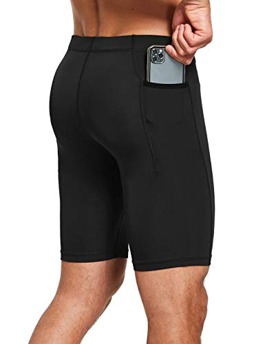 BALEAF Men's Compression Running Workout Shorts Pockets Gym Athletic Yoga Bike Tights Underwear Baselayer Black Medium