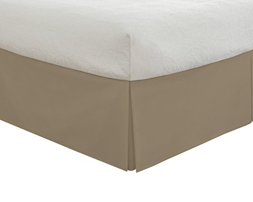 "Fresh Ideas Bedding Tailored Bedskirt, Classic 14"" Drop Length, Pleated Styling, King, Mocha"
