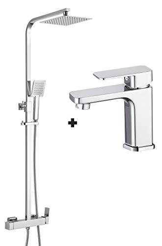 Kibath Conjunto Columna de ducha monomando CHE más Grifo de lavabo CHE .Tubo Extensible Extraplano regulable en Altura de 73 a 122 cm. Cromo Brillo, 830x1200