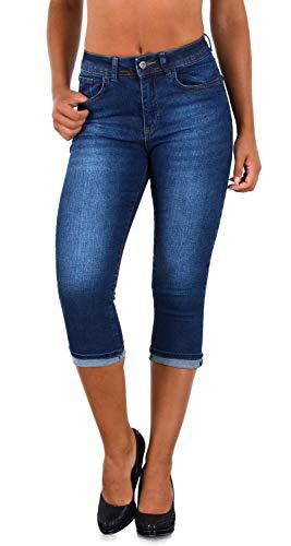 ESRA Damen Capri Hose Damen High Waist Caprihose Kurze Jeans Hose hoher Bund bis Übergröße J740