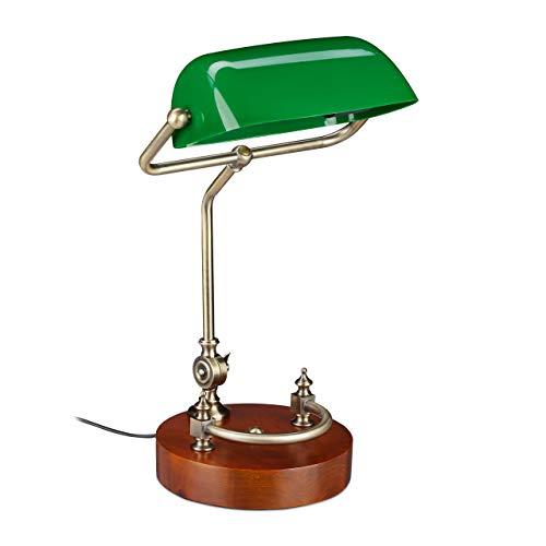 Relaxdays Lámpara de escritorio, Retro, Pie de madera, Pantalla reclinable, E27, Vintage, 1 Ud., Verde
