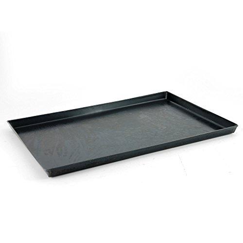 Pentole Agnelli plat, rechthoekig, van blauw blik, dikte 0,8 cm, zwart