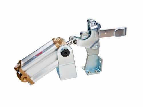 JW Winco Series GN 862 Steel Pneumatic Toggle Clamp with Vertical Mounting Base and Clasp, Type EPV3, Metric Size, Solid Bar, Clamp Size 300, 2700 Newton Holding Capacity