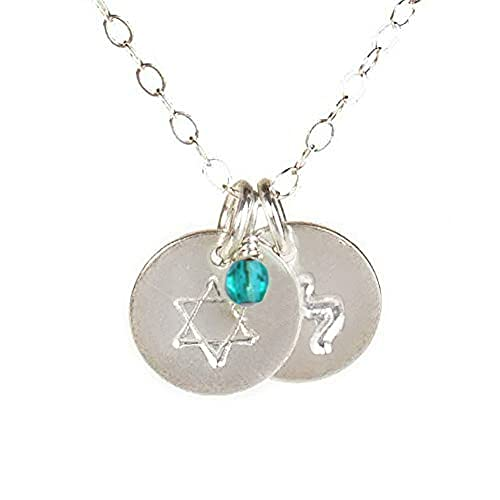 EFYTAL Tiny Star of David Necklace with Personalized Hebrew Initial and Birth Month Charm, Dainty 925 Sterling Silver Hanukkah Gift, Birthday Gifts for Jewish Women
