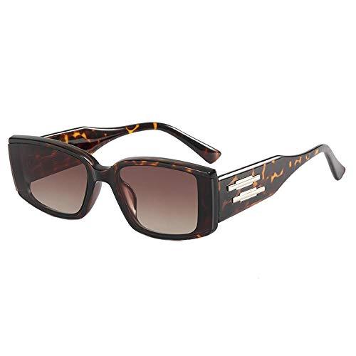 Gosunfly Montura cuadrada, gafas de moda, gafas de sol personalizadas, visera solar-Caja de leopardo doble té