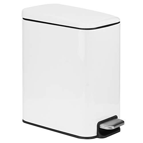 5L rostfritt stål steg papperskorgen papperskorg sopkärl för badrum sovrum 8.7x5.5x11.4in, vit