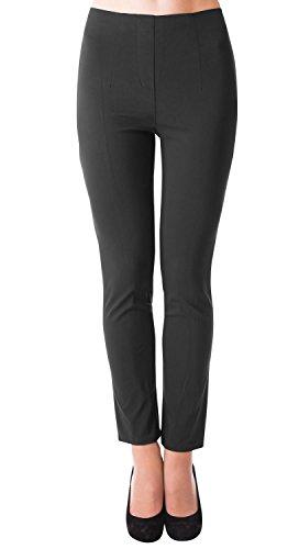 Danaest Damen Stretch Hose gerades Bein (491), Grösse:XXL, Farbe:Schwarz