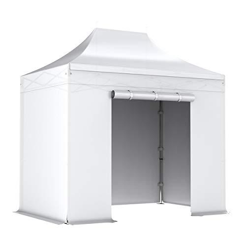 Interouge - Pavillon Faltzelt 2x3m mit 4 Seitenwände in Polyester 300g/m² mit PVC-beschichtet - Aluminium Zelt Marktstand Marktzelt Gartenzelt Messestand - Weiß