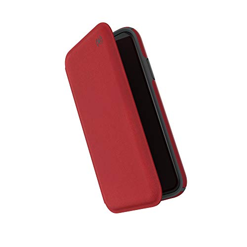 Speck Products Presidio Folio iPhone XR Case, Heathered Heartrate Red/Heartrate Red/Graphite Grey