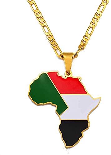 NC110 Hip-Hop África Mapa Colgante Collar joyería Ghana Nigeria Congo Sudán Somalia Uganda Zimbabwe Zambia Liberia YUAHJIGE