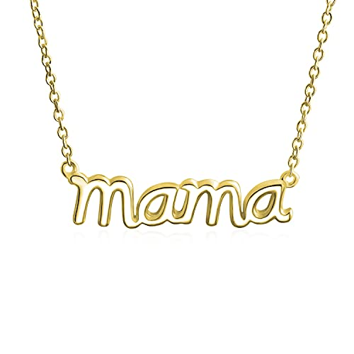 Mama Name Plate Talk Word Station Pendant Necklace For Mother For Women Polished Yellow Gold Plated .925 Sterling Silver