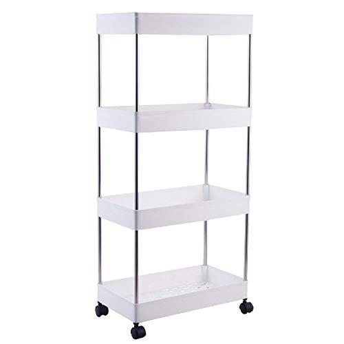 PQXOER Carros de almacenamiento de cocina con 4 niveles movibles y espacio de almacenamiento, carrito con ruedas para nevera, estante lateral para escritorio, cocina, baño (tamaño: #2; color: blanco)