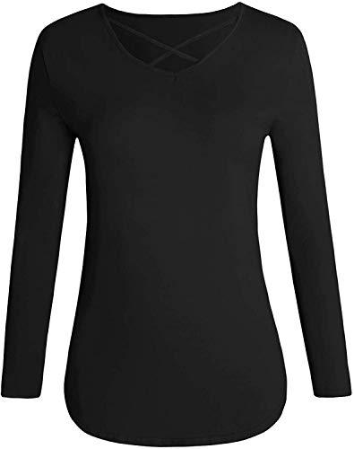 Camiseta De Manga Larga Básica De Mujer La Túnica Blusa De Vida de la Moda Manga Corta Suéter Flojo Ocasional Manera De Las Tapas Acogedor Básico Tops Ropa (Color : Negro, One Size : L)
