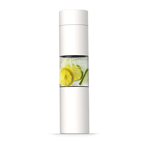 asobu Flavor U See a Stainless Steel Fruit Infuser Slim and Classy Water Bottle 16 Ounce Bpa Free(White)