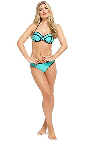 Damen-Bikini, geformt, Körbchen, Neonfarben, Oberteil und Hose Gr. 44, türkis