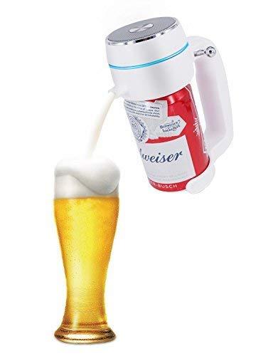 ENERG超音波式ハンディビールサーバー泡立て缶ビール用ジョッキタイプ極細泡クリーミー泡バッテリ付き父にプレゼント景品ピクニックお祝いパーティーに最適T19-ENBRホワイト