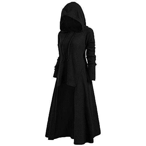 Toctax Vestido con Capucha para Mujer, Vestido de Halloween Vestidos de Manga Larga de Fiesta Medieval Vestidos de Disfraces de Fiesta de Halloween Renacentistas Mujeres Chaqueta Punk Vintage Ropa
