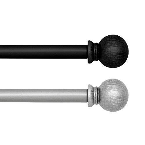 "Elrene Home Fashions Farmhouse Ball Curtain Rod, 28""-48"" Adjustable, Wrought Iron"