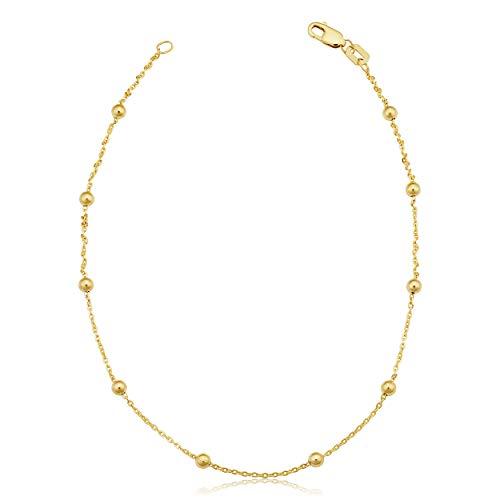 Tobillera de oro amarillo de 14 quilates con diseño de satélite, joyería para mujer (cuentas de 3 mm, 25,4 cm)