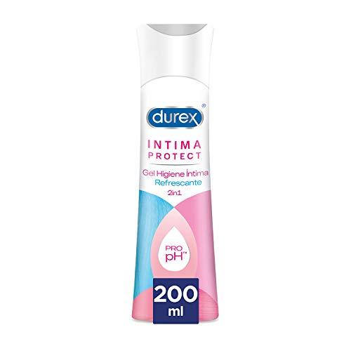 Durex Íntima Protect Gel Limpiador Higiene Íntima Refrescante 2In1, Fórmula Pro-Ph, Hipoalergénico y Libre de Colorantes Artificiales, Multicolor, 200 Ml