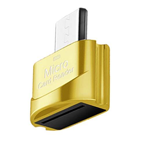 LOVIVER Slim Portátil De Metal Micro USB Digital TF Leitor De Cartão Hub W/Keychain Hole - Ouro