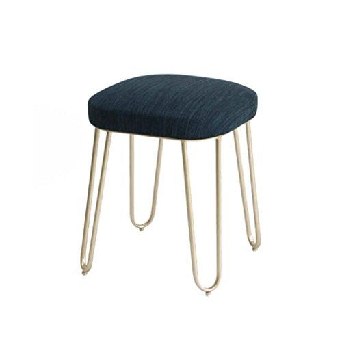 Tabouret en lin en métal mode maquillage tabouret Dressing tabouret à manger chaise thé table tabouret H48CM (Couleur : A, taille : 3#champagne)