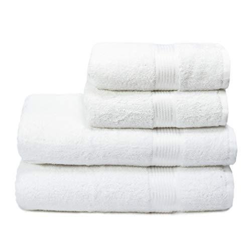 GLAMBURG Juego de 4 Toallas Ultra Suaves, de algodón, Contiene 2 Toallas de baño de 70 x 140 cm, 2 Toallas de Mano de 50 x 90 cm, Uso Diario, Compacto y Ligero, Color Blanco