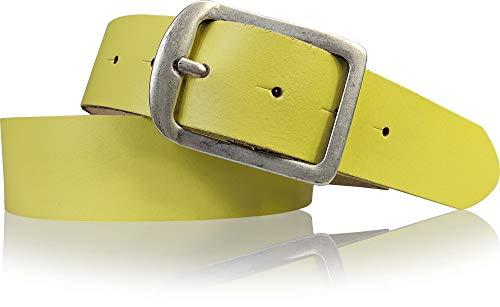 FRONHOFER Cinturón de mujer de 4 cm, de piel auténtica, hebilla plateada, estilo retro, 18543 Limón. XX-Large
