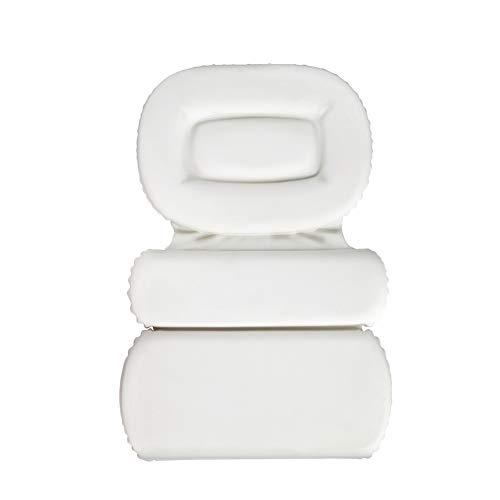 Liveinu 3 Fach Badewannenkissen Luxus Wannenkissen Bad Kissen mit Saugnäpfen Rutschfeste Antibakteriell Wasserabweisenden Nackenkissen für Kopf Nacken Rücken 55x38cm Weiß
